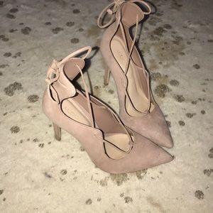 Aldo Tie-Up Heels - Blush
